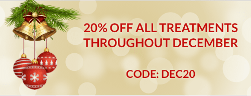 20% off all treatments throughout December. Code: DEC20.